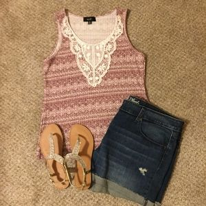 Aztec Heathered Maroon Burgundy Lace Tank Top